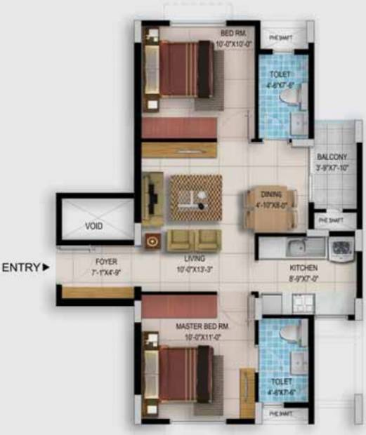 Provident Too Good Homes (2BHK+2T (923 sq ft) 923 sq ft)