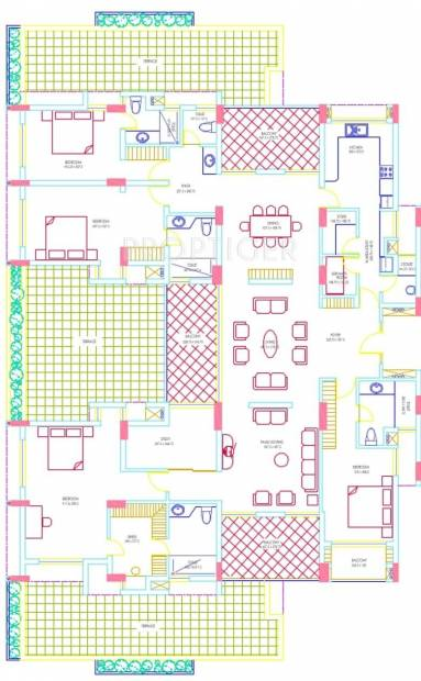 RDS Project Avenue One Floor Plan (4BHK+5T + Servant Room)