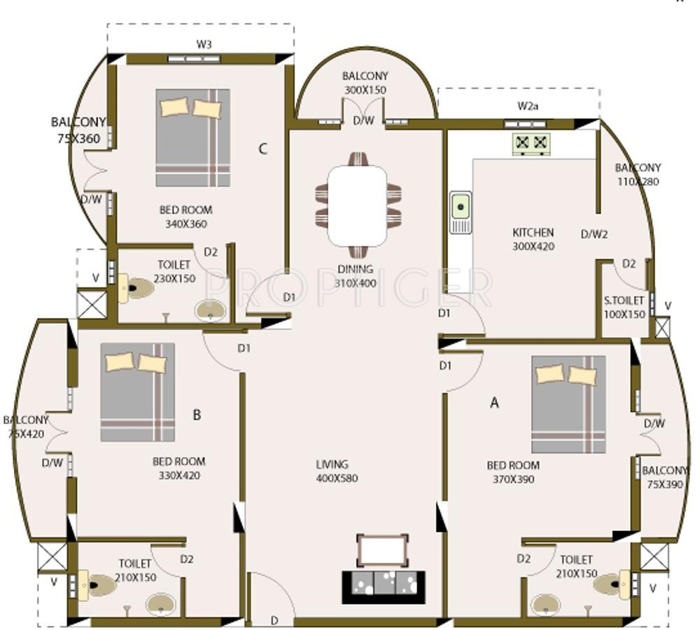 1800 sq ft 3 bhk 3t apartment for sale in ac white gold vytilla kochi. Black Bedroom Furniture Sets. Home Design Ideas