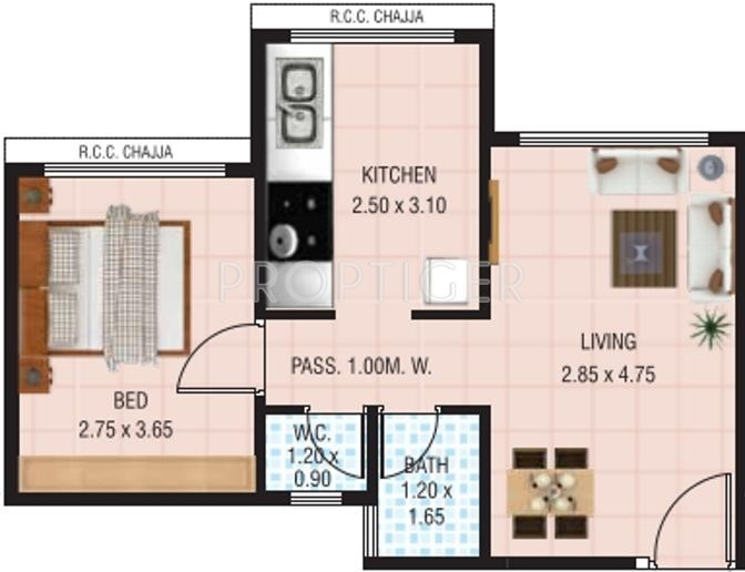 550 Sq Ft 1 Bhk Floor Plan Image Vaastu Siddhi Landmark