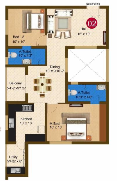 Sree Daksha Darza (2BHK+2T (1,242 sq ft) 1242 sq ft)