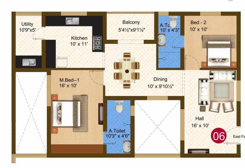 Sree Daksha Darza (2BHK+2T (1,274 sq ft) 1274 sq ft)