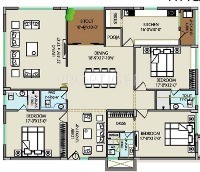 2850 sq ft 3 bhk 3t apartment for sale in balaji for Floor plan companies