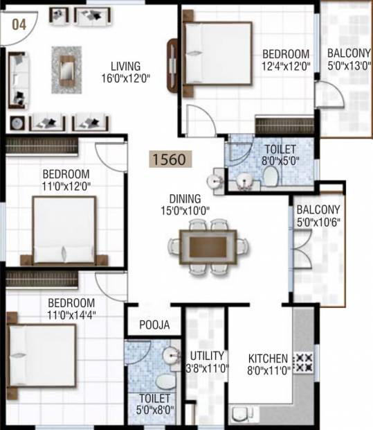 Sai Krupa Heritage (3BHK+2T (1,560 sq ft) + Pooja Room 1560 sq ft)