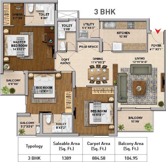 Hero Homes Gurgaon (3BHK+3T (1,389 sq ft) 1389 sq ft)