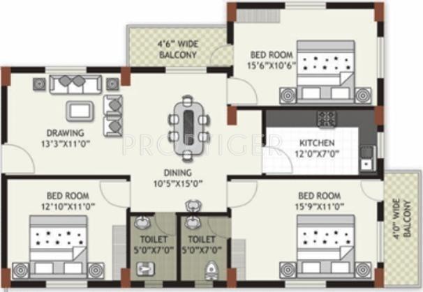 Arya Arya Residency (3BHK+2T (1,460 sq ft) 1460 sq ft)