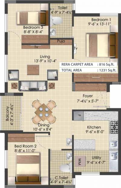 TVS Emerald Green Enclave (3BHK+2T (1,231 sq ft) 1231 sq ft)