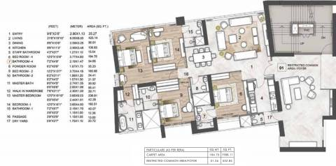 1988 Sq Ft 4 Bhk Floor Plan Image Rustomjee Constructions Crown Phase 1 Available For Sale Rs In 11 07 Crore Proptiger Com