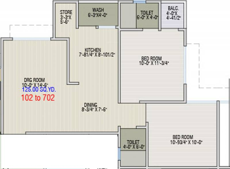 Dharti Exotica (2BHK+2T (1,125 sq ft) 1125 sq ft)