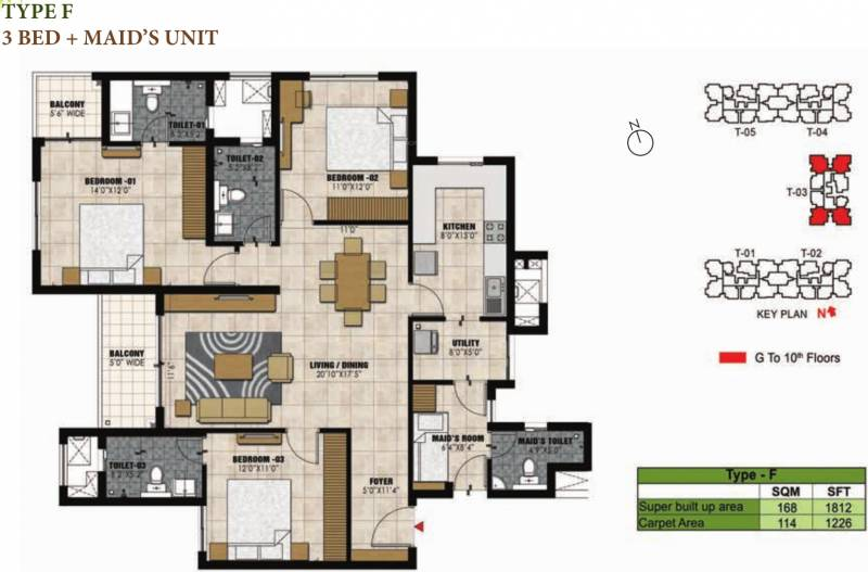 Prestige Willow Tree (3BHK+3T (1,812 sq ft) + Servant Room 1812 sq ft)