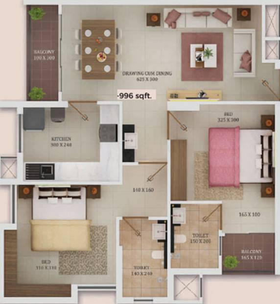 Trinity New Castle (2BHK+2T (996 sq ft) 996 sq ft)