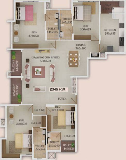 Trinity New Castle (4BHK+4T (2,345 sq ft) 2345 sq ft)