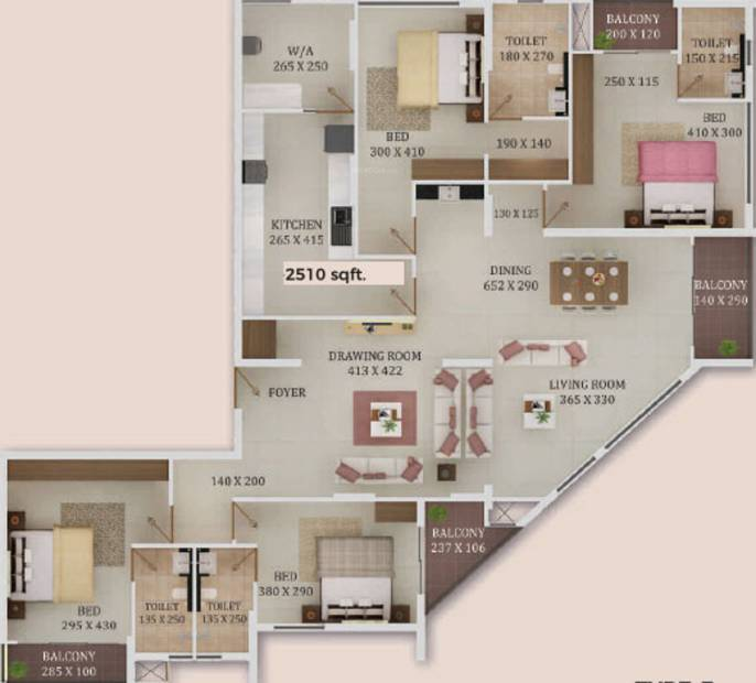 Trinity New Castle (4BHK+4T (2,510 sq ft) 2510 sq ft)