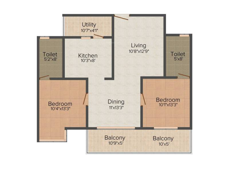 Parth Gardenia (2BHK+2T (1,350 sq ft) 1350 sq ft)