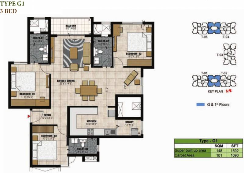 Prestige Willow Tree (3BHK+3T (1,592 sq ft) 1592 sq ft)
