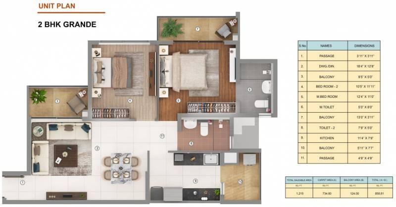 Shapoorji Pallonji JoyVille (2BHK+2T (1,215 sq ft) 1215 sq ft)