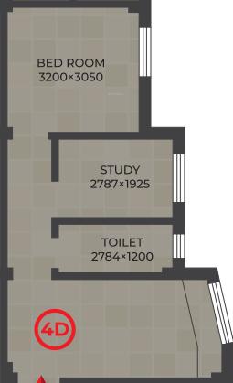 RDB Regent Lakeview (1BHK+1T (545 sq ft) + Study Room 545 sq ft)