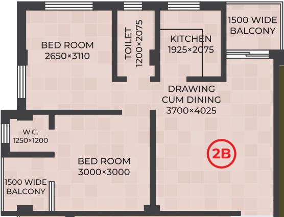 RDB Regent Lakeview (2BHK+2T (741 sq ft) 741 sq ft)