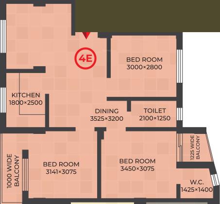 RDB Regent Lakeview (3BHK+2T (980 sq ft) 980 sq ft)