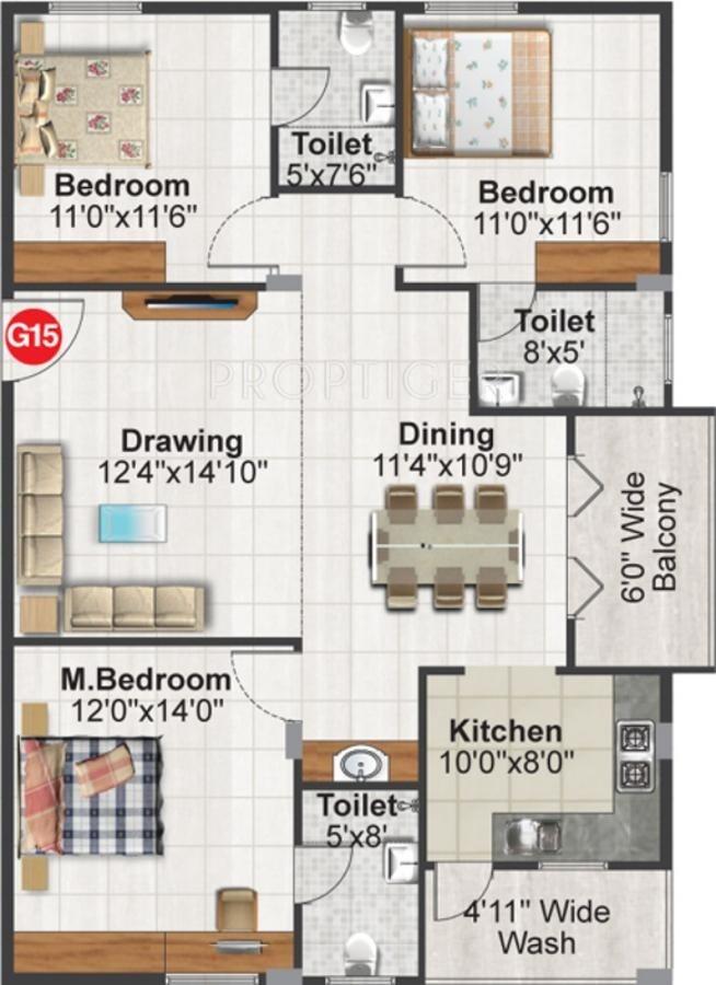 1495 sq ft 3 bhk 3t apartment for sale in srinidhi design for 4 bhk apartment design