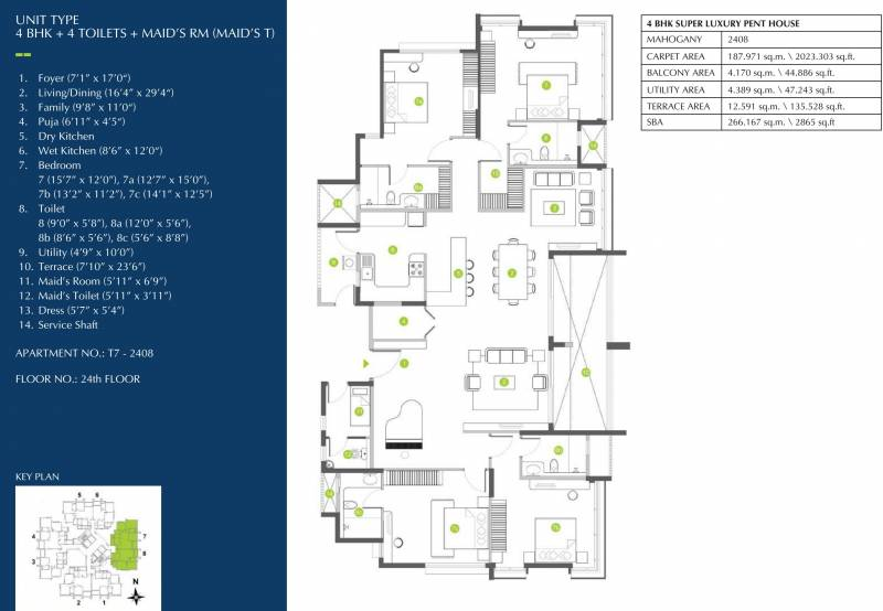 Shapoorji Pallonji ParkWest Mahogany Tower 7 (4BHK+4T (2,865 sq ft) + Servant Room 2865 sq ft)