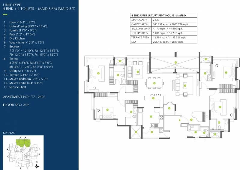 Shapoorji Pallonji ParkWest Mahogany Tower 7 (4BHK+4T (2,890 sq ft) + Servant Room 2890 sq ft)