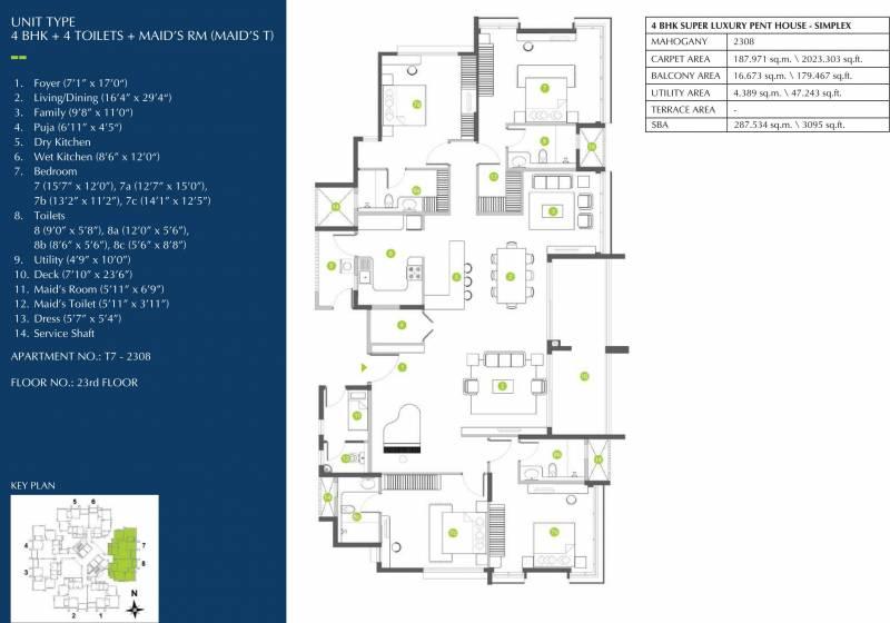 Shapoorji Pallonji ParkWest Mahogany Tower 7 (4BHK+4T (3,095 sq ft) + Servant Room 3095 sq ft)