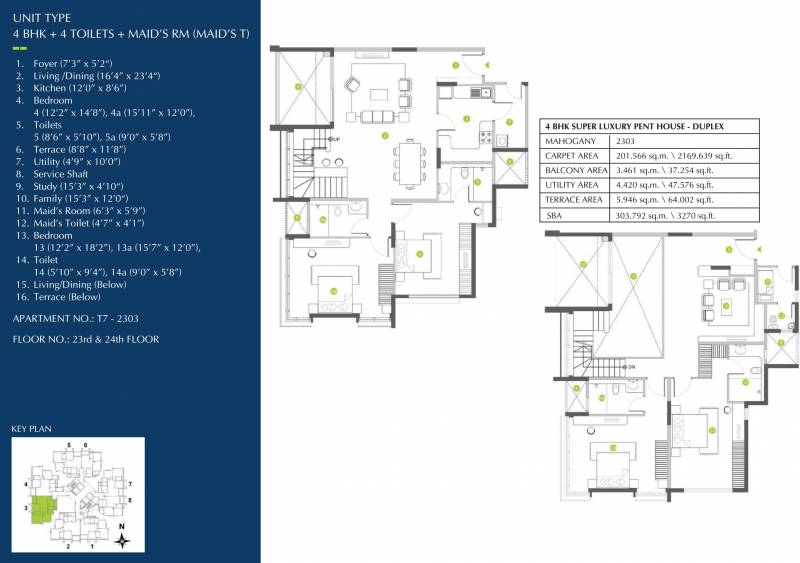 Shapoorji Pallonji ParkWest Mahogany Tower 7 (4BHK+4T (3,270 sq ft) + Study Room 3270 sq ft)