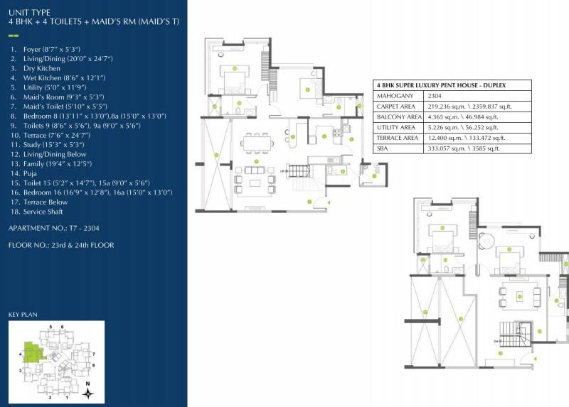 Shapoorji Pallonji ParkWest Mahogany Tower 7 (4BHK+4T (3,585 sq ft) + Study Room 3585 sq ft)