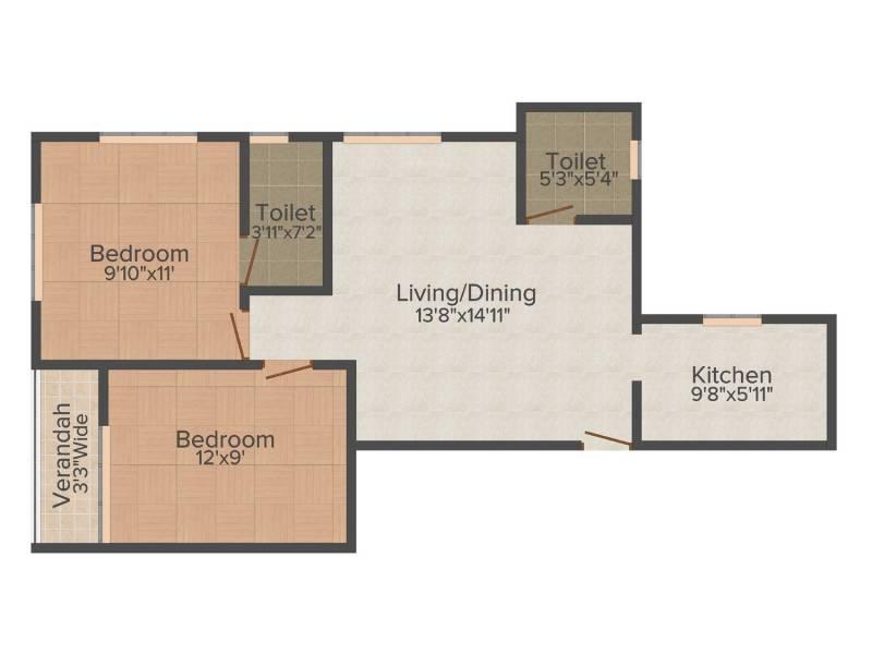 Rupayan Su Casa Twins (2BHK+2T (935 sq ft) 935 sq ft)