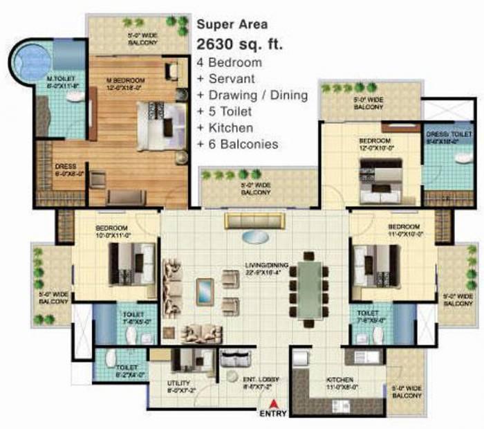 VVIP Homes (3BHK+3T (2,630 sq ft) + Servant Room 2630 sq ft)