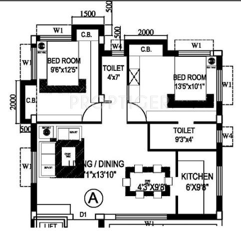 780 sq ft 2 bhk 2t apartment for sale in eden group roma for 780 square feet house plan