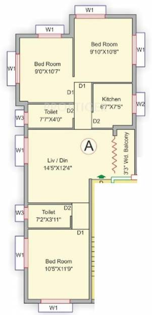 Eden Icon Phase II (3BHK+2T (1,041 sq ft) 1041 sq ft)