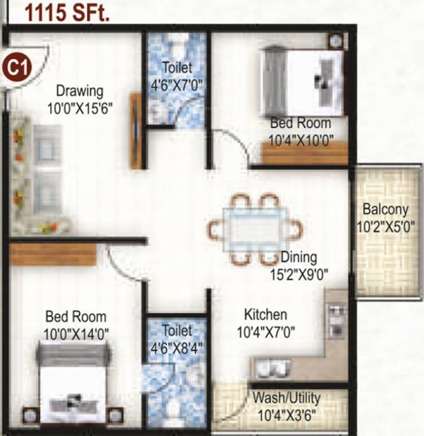 K R Grand View Heights (2BHK+2T (1,115 sq ft) 1115 sq ft)