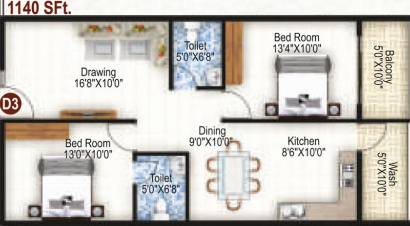 K R Grand View Heights (2BHK+2T (1,140 sq ft) 1140 sq ft)