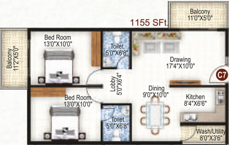 K R Grand View Heights (2BHK+2T (1,155 sq ft) 1155 sq ft)