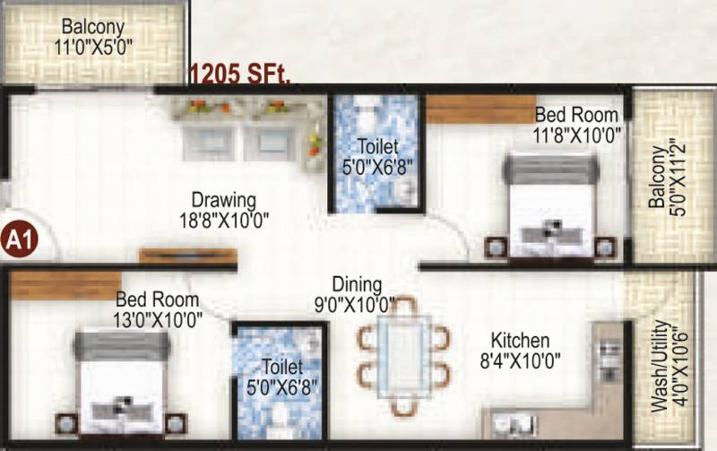 K R Grand View Heights (2BHK+2T (1,205 sq ft) 1205 sq ft)