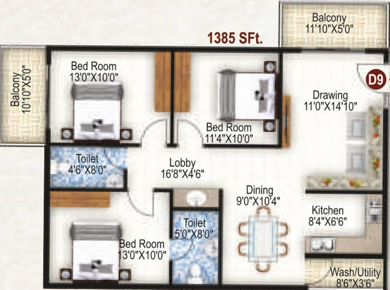 K R Grand View Heights (3BHK+3T (1,385 sq ft) 1385 sq ft)