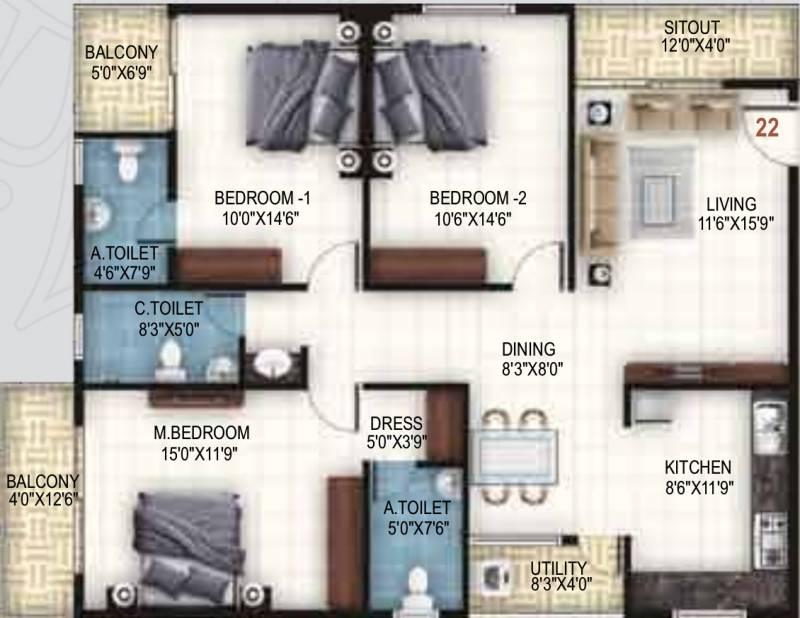 United Sai Arcade (3BHK+3T (1,665 sq ft) 1665 sq ft)