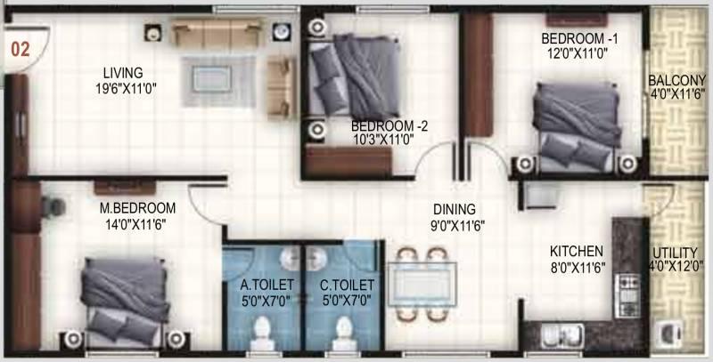 United Sai Arcade (3BHK+2T (1,415 sq ft) 1415 sq ft)