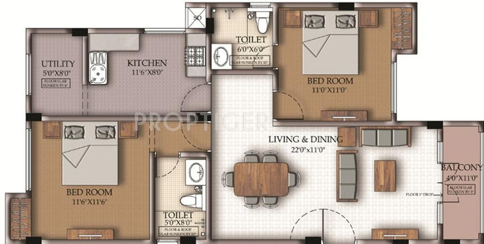 1100 Sq Ft 2 Bhk 2t Apartment For Sale In Sumanth Sreshta