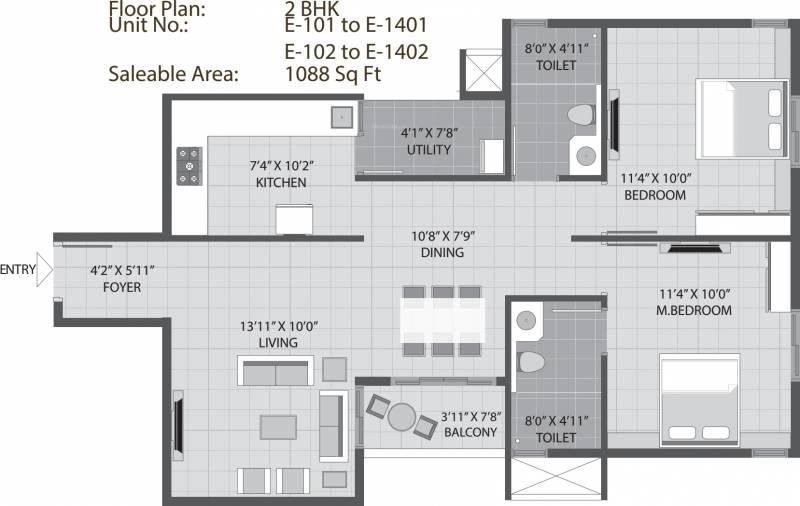 Arvind Sporcia (2BHK+2T (1,047 sq ft) 1047 sq ft)