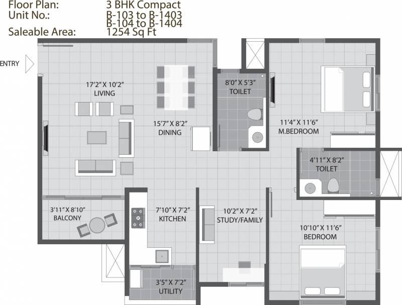 Arvind Sporcia (2BHK+2T (1,254 sq ft) + Study Room 1254 sq ft)