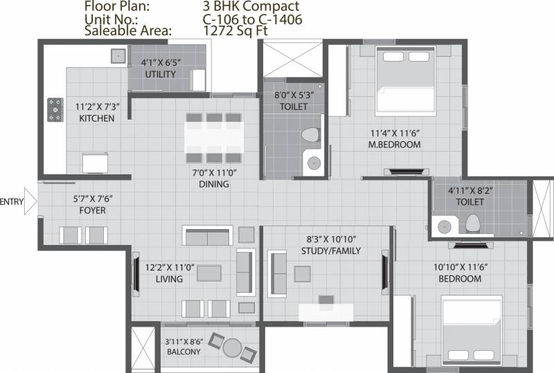 Arvind Sporcia (2BHK+2T (1,272 sq ft) + Study Room 1272 sq ft)