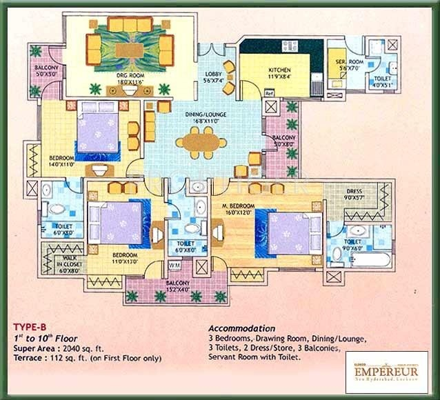 Eldeco Empereur (3BHK+3T (2,040 sq ft)   Servant Room 2040 sq ft)