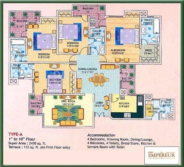 Eldeco Empereur (4BHK+4T (2,430 sq ft)   Servant Room 2430 sq ft)