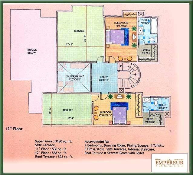 Eldeco Empereur (4BHK+4T (3,180 sq ft)   Servant Room 3180 sq ft)