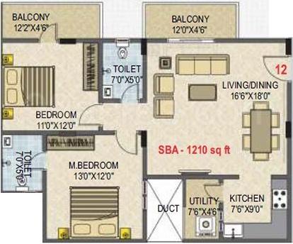 SLV Essenza (2BHK+2T (1,210 sq ft) 1210 sq ft)