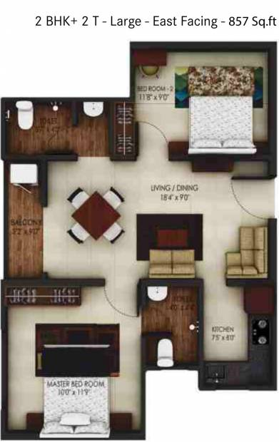 Urbanrise Code Name Independence Day (2BHK+2T (857 sq ft) 857 sq ft)