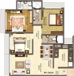 901 Sq Ft 3 Bhk Floor Plan Image Bajaj International Realty Emerald Available For Sale Rs In 3 15 Crore Proptiger Com